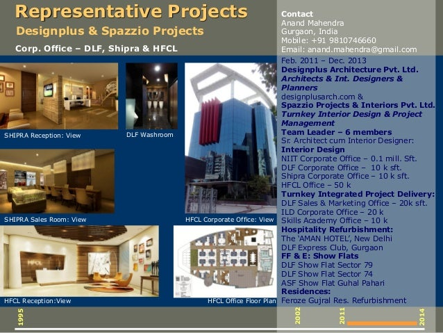 SHIPRA Reception: View HFCL Corporate Office: View HFCL Office Floor Plan DLF Washroom Feb. 2011 – Dec. 2013 Designplus Ar...