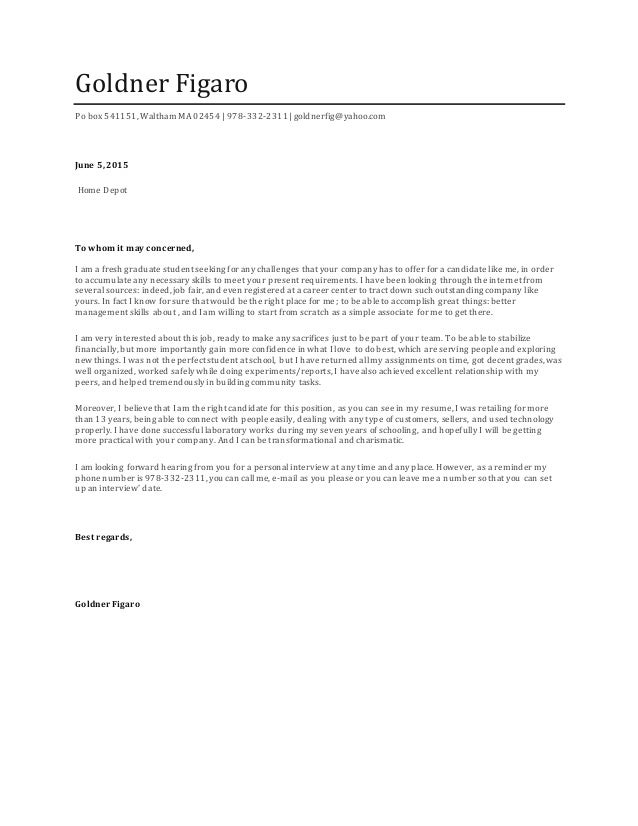 home depot cover letter