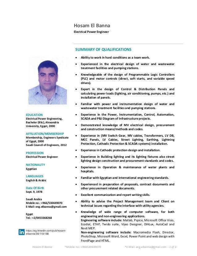 Senior Electrical Engineer CV. Hosam El Banna *Mobile No.: +966530449070  *E Mail: Eng ...  Cv Engineering