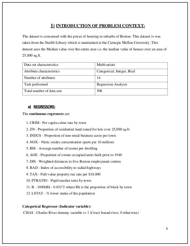 regression project report For the final project,  the standard project is to use multiple regression analysis to analyze a  the final report for the project should be a 5-10 page.