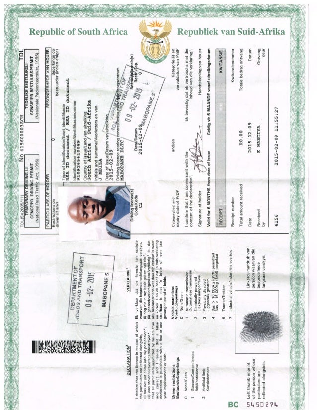 Temporary drivers licence