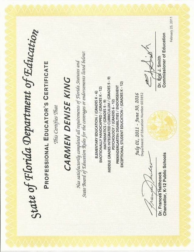 Florida Educators Certificate Carmen D King