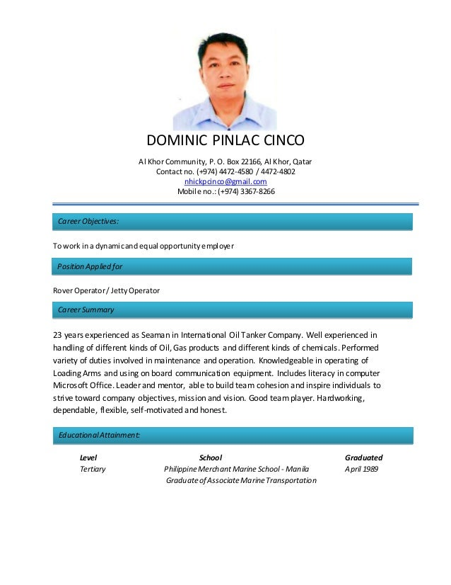 CV-Resume DOMINIC CINCO 2015