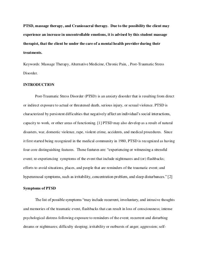 post traumatic stress disorder essay thesis Post-traumatic stress disorder research paper topics: psychological trauma post-traumatic stress disorder essay post-traumatic stress.