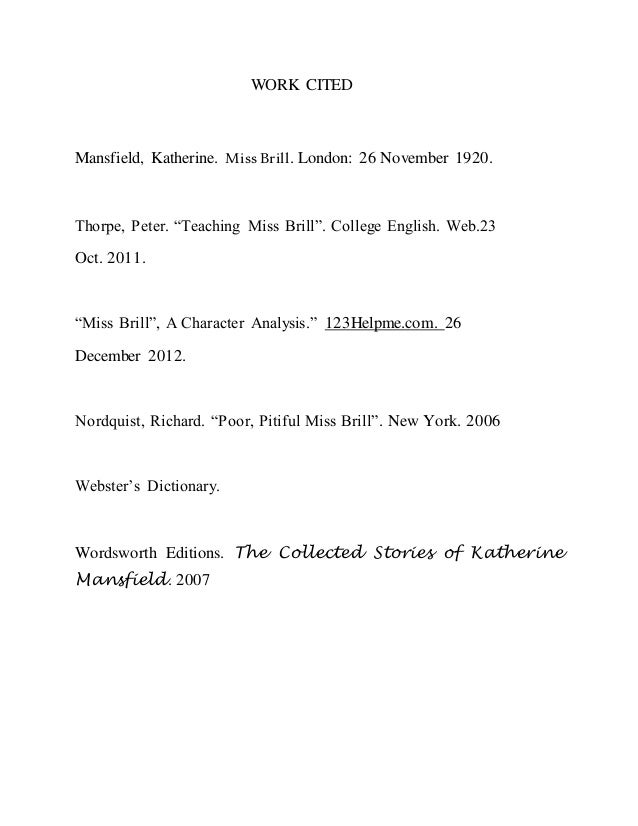 katherine mansfield 5 work cited mansfield katherine miss brill