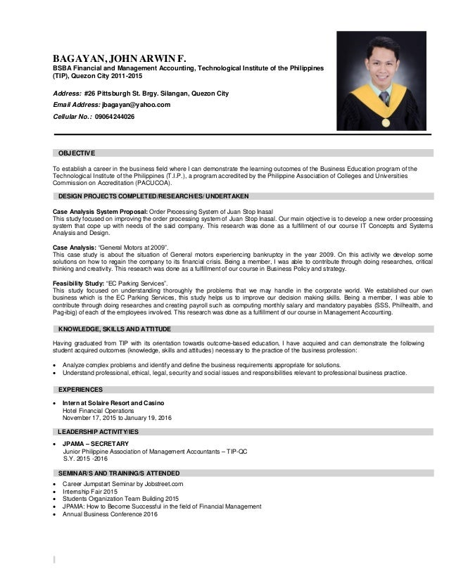Resume For Accountants Format