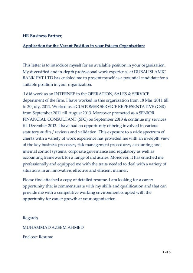 Covering Letter U0026 CV. 1 Of 5 HR Business Partner, Application For The  Vacant Position In Your Esteem Organisation ...  Cover Letter With Resume