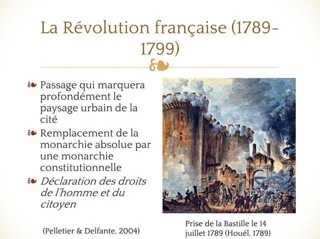 ❧ La Révolution française (1789- 1799) ❧ Passage qui marquera profondément le paysage urbain de la cité ❧ Remplacement de ...