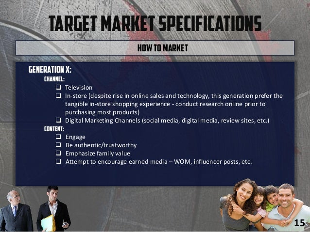TargetMarketSpecifications Generationx: Channel:  Television  In-store (despite rise in online sales and technology, thi...