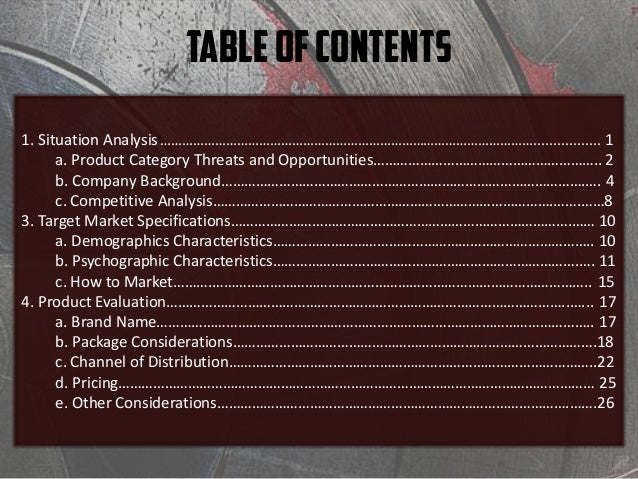 TableofContents 1. Situation Analysis…………………………………………………………………………………………………................. .1 a. Product Category Threats...