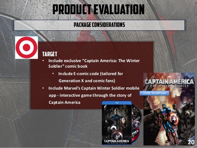 """ProductEvaluation Target • Include exclusive """"Captain America: The Winter Soldier"""" comic book • Include E-comic code (tail..."""