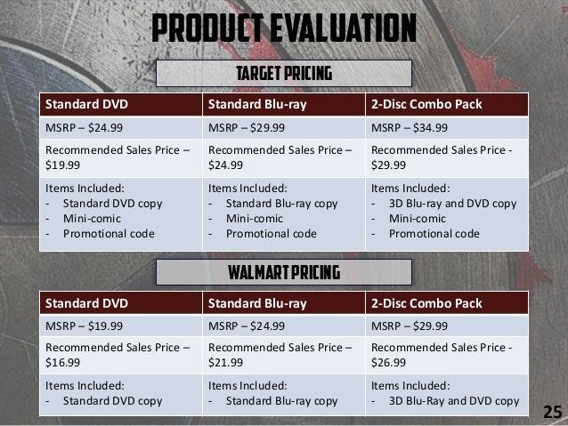 ProductEvaluation TargetPricing 25 Standard DVD Standard Blu-ray 2-Disc Combo Pack MSRP – $24.99 MSRP – $29.99 MSRP – $34....