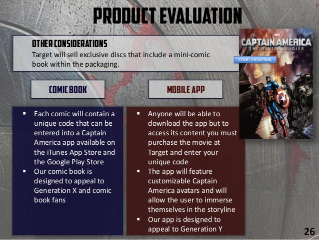 ProductEvaluation  Each comic will contain a unique code that can be entered into a Captain America app available on the ...