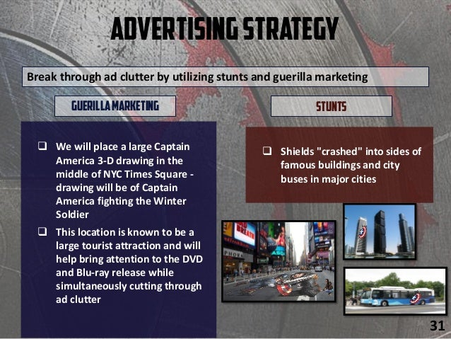 AdvertisingStrategy  We will place a large Captain America 3-D drawing in the middle of NYC Times Square - drawing will b...