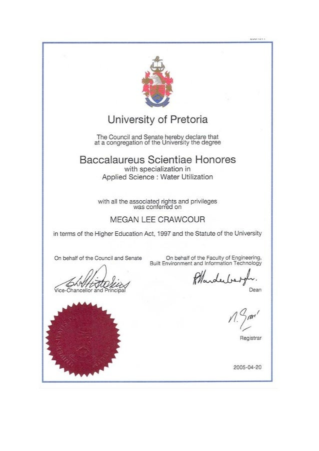 ML Crawcour BSc Hons Degree From The University Of Pretoria