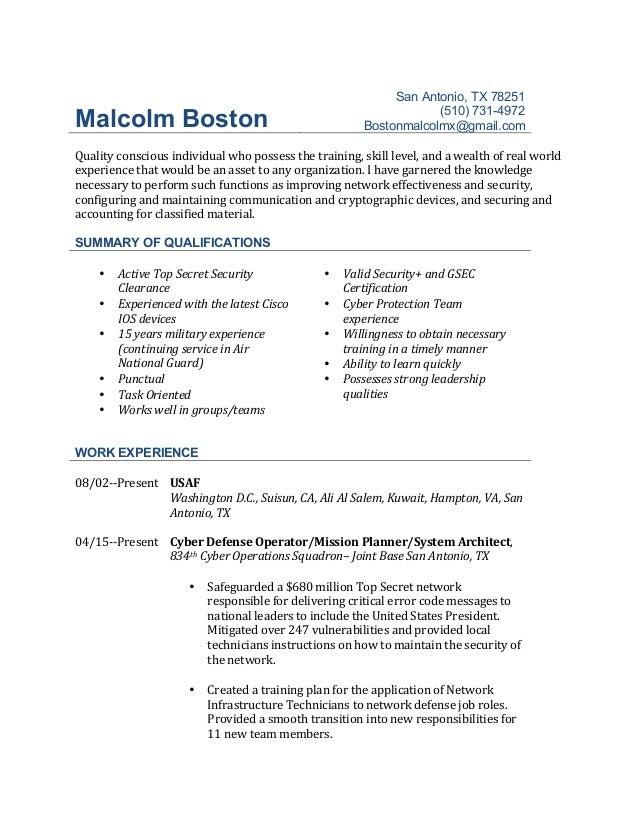 Malcolm Boston Resume