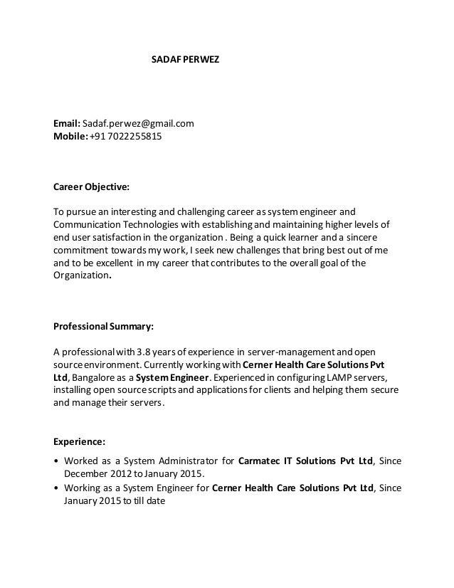 sadaf perwez email sadafperwezgmailcom mobile 91 7022255815 - Cerner Systems Engineer Sample Resume