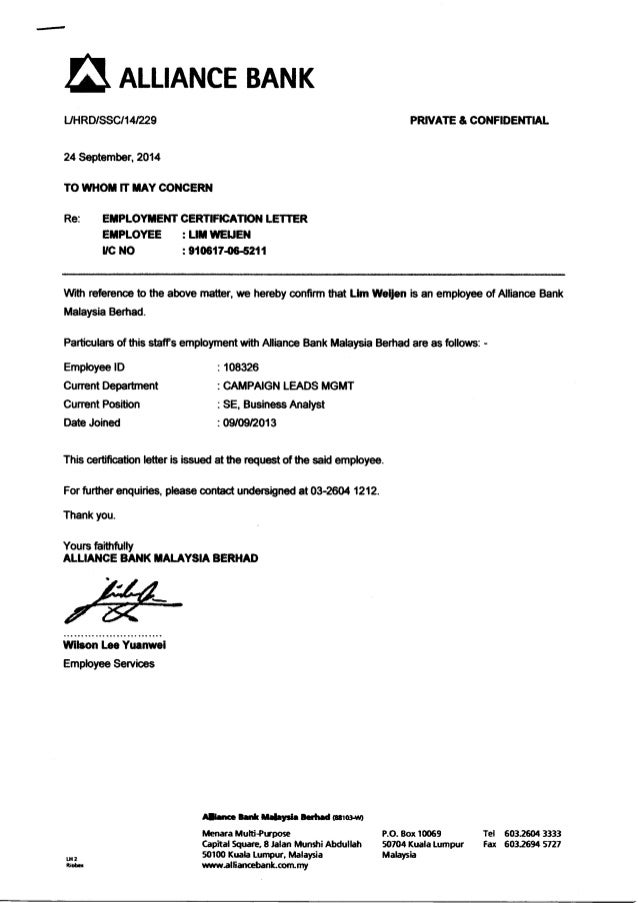 Previous Employment Certification Letter