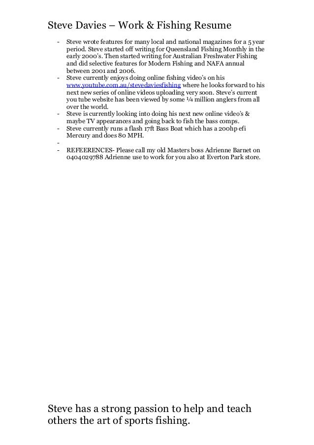 3. Steve Davies U2013 Work U0026 Fishing Resume ...  Fishing Resume