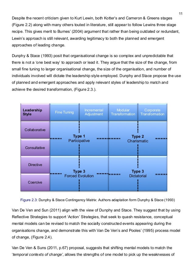 Review of the Dunphy-Stace's contingency model of change implementation