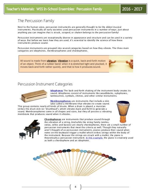 2016-2017 Percussion Pre-Visit Materials