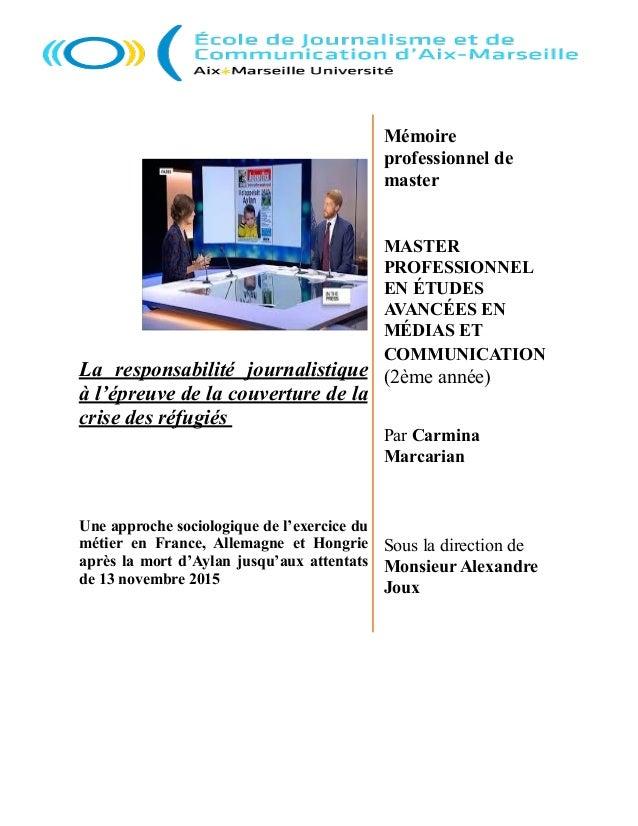 Mémoire professionnel de master MASTER PROFESSIONNEL EN ÉTUDES AVANCÉES EN MÉDIAS ET COMMUNICATION (2ème année) Par Carmin...