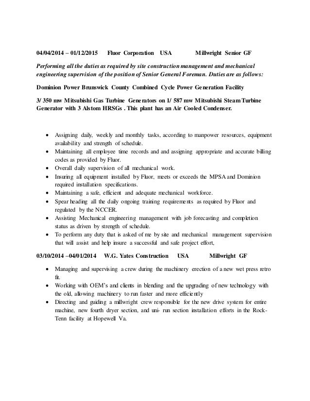 Millwright cover letter samples
