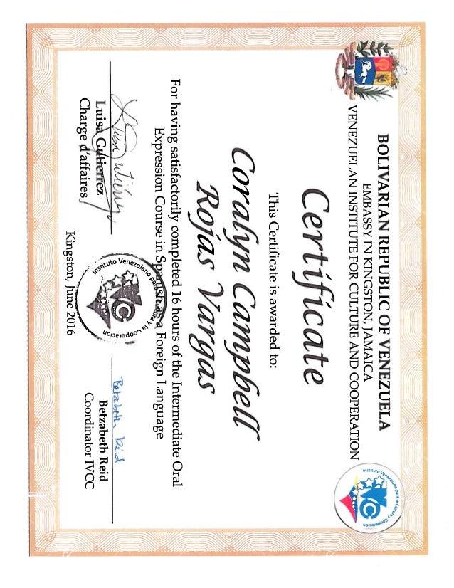Cora Spanish Language Certificate Oral