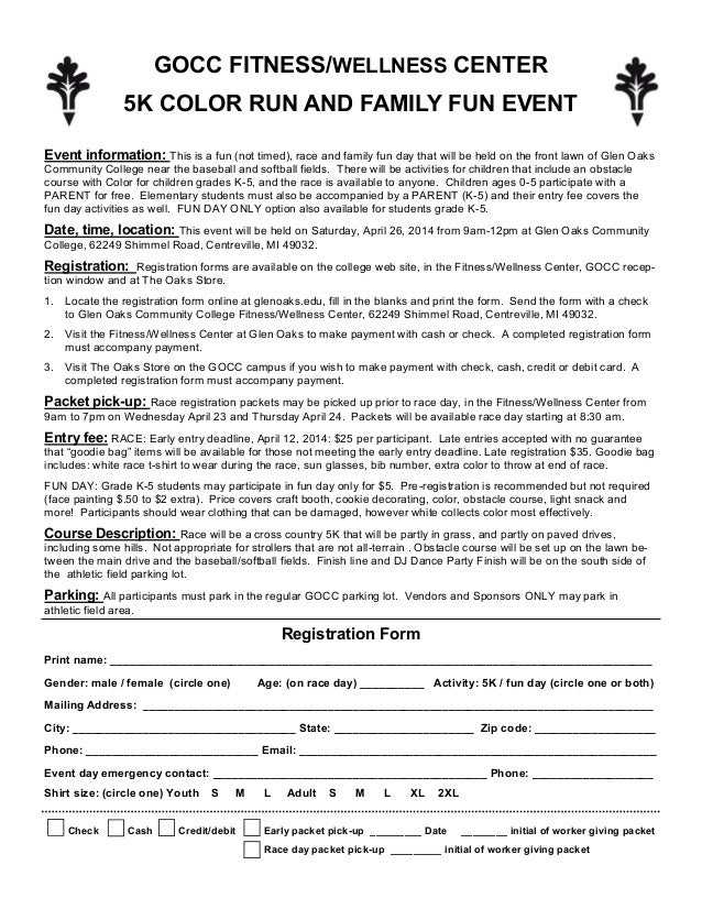 Color Run Entry Form