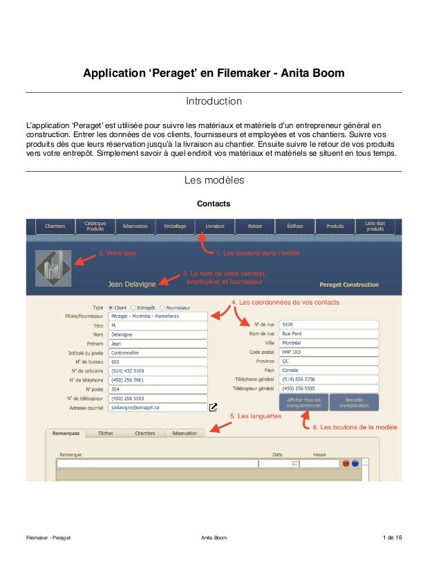 Application 'Peraget' en Filemaker - Anita Boom Introduction L'application 'Peraget' est utilisée pour suivre les matériau...