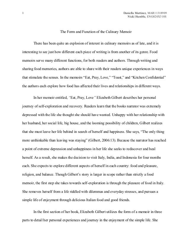 food memoir essaymsword - English Essay Examples