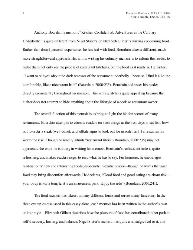 food memoir essay example