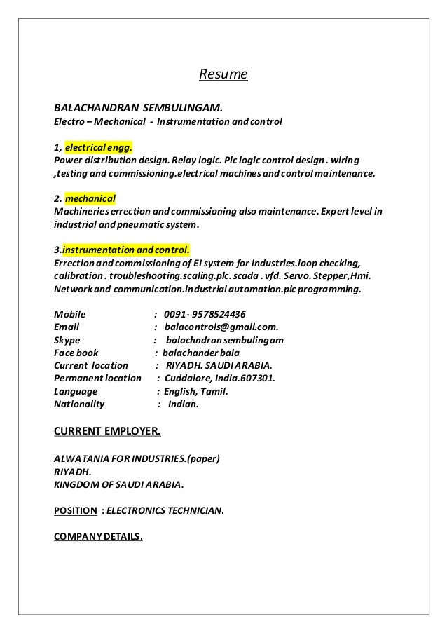 Resume BALACHANDRAN SEMBULINGAM. Electro – Mechanical - Instrumentation and control 1, electrical engg. Power distribution...