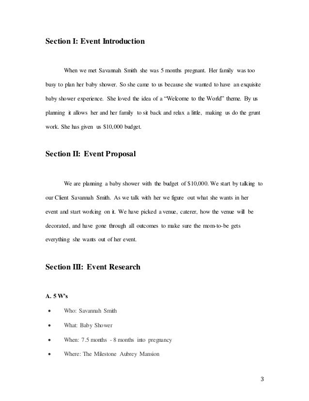 Event Planning Project – Proposal Event Planning