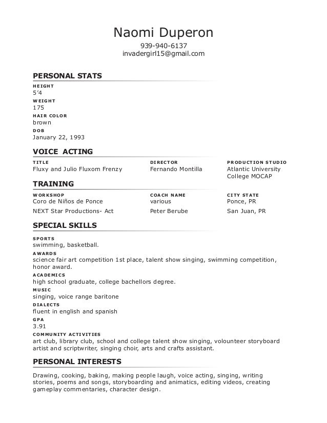 performer resume