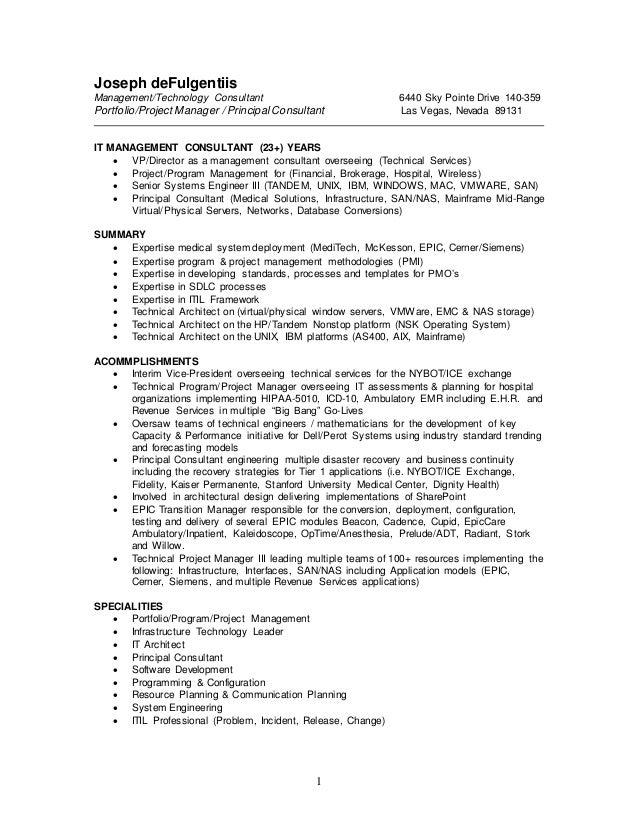 1 joseph defulgentiis managementtechnology consultant 6440 sky pointe drive 140 359 portfolio - Cerner Systems Engineer Sample Resume