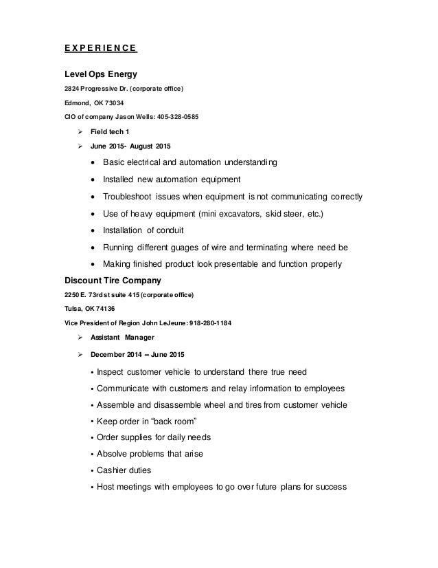 Discount Tire Tulsa >> Matt's resume. word doc (1)