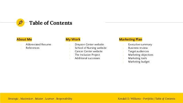 Kendall d williams digital marketing portfolio - Marketing plan table of contents ...