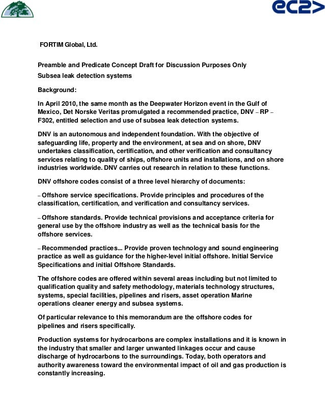 FORTIM Global, Ltd. Preamble and Predicate Concept Draft for Discussion Purposes Only Subsea leak detection systems Backgr...