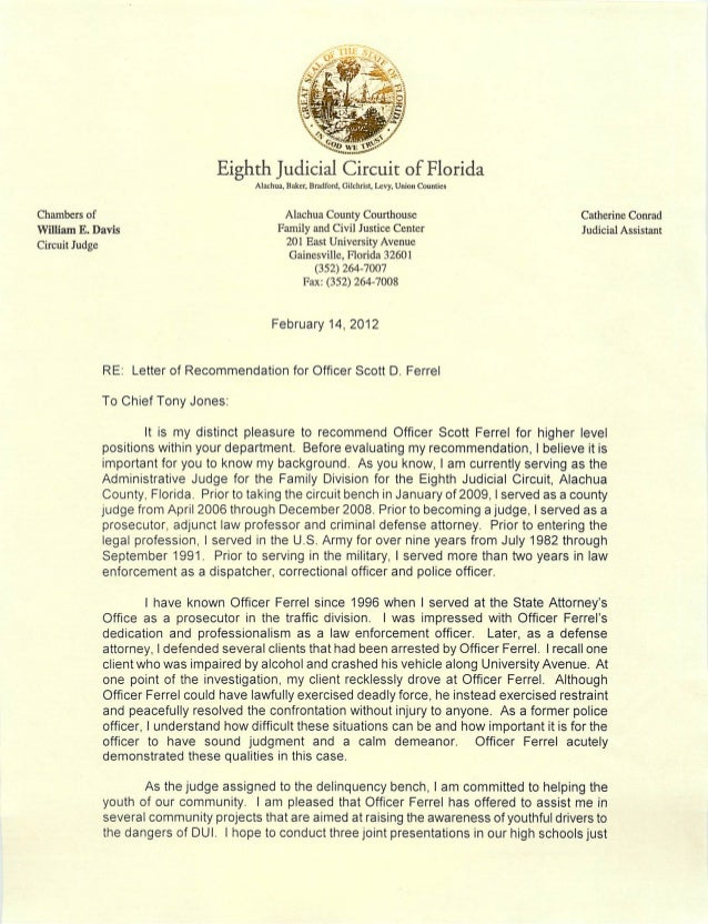 Letter Of Recommendation Judge Davis