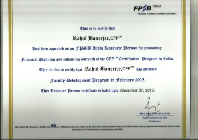India resource person certificate fpsb india resource person certificate yadclub Images