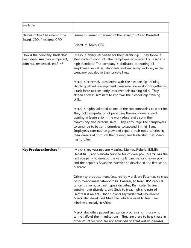 Corporate Analysis Paper Merck