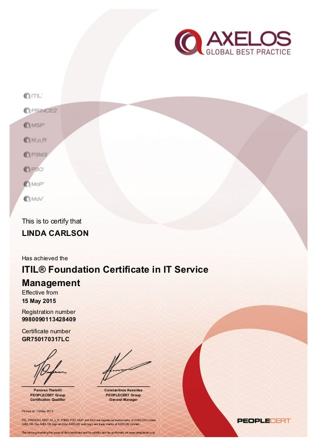 Itil V3 Foundation Certificate