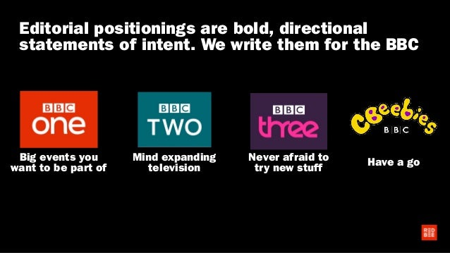 Big events you want to be part of Mind expanding television Never afraid to try new stuff Have a go Editorial positionings...