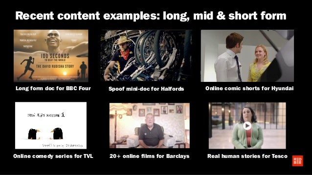 Recent content examples: long, mid & short form Long form doc for BBC Four 20+ online films for Barclays Real human storie...