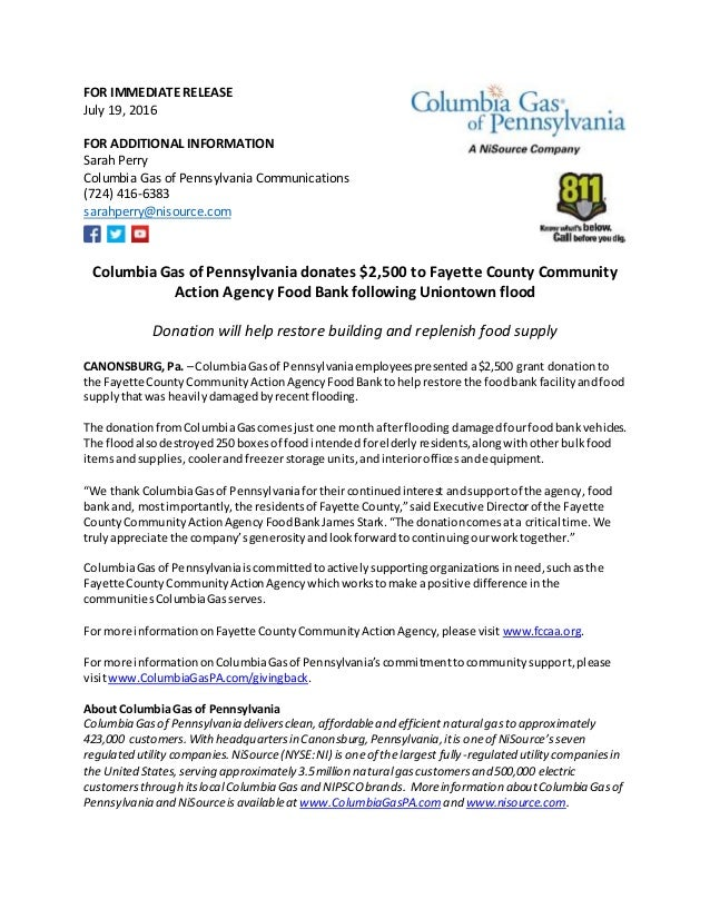 FOR IMMEDIATE RELEASE July 19, 2016 FOR ADDITIONAL INFORMATION Sarah Perry Columbia  Gas of Pennsylvania ...