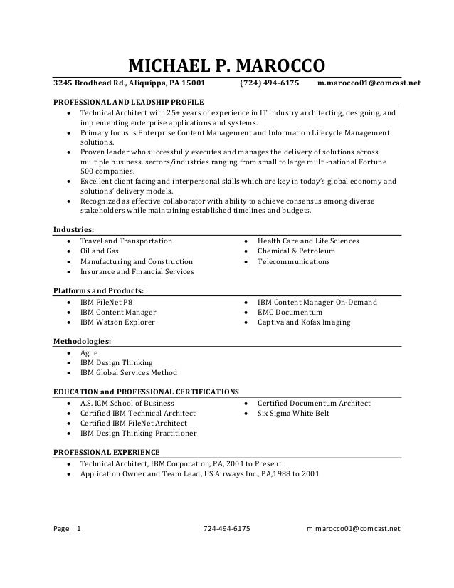 Resume For Michael Marocco January 20 2017