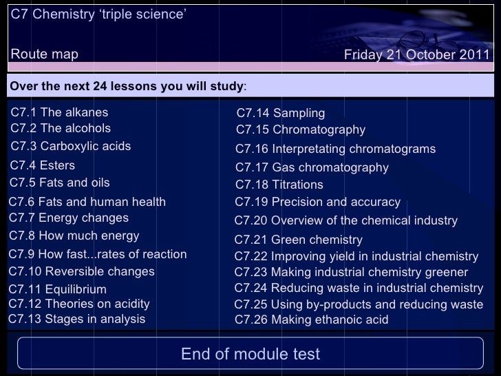 C7 Chemistry 'triple science'  Route map Over the next 24 lessons you will study : Friday 21 October 2011 C7.1 The alkanes...