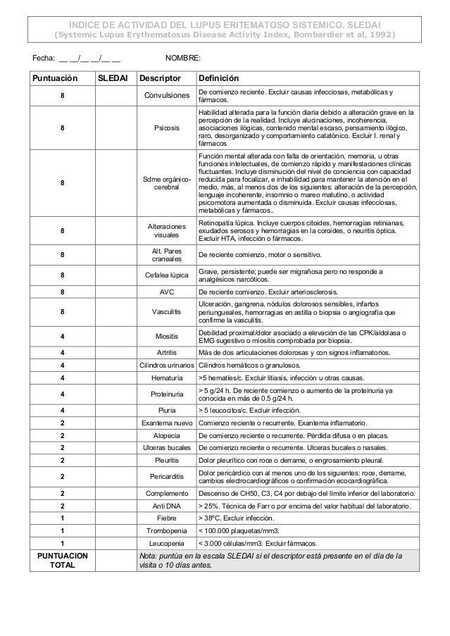 INDICE DE ACTIVIDAD DEL LUPUS ERITEMATOSO SISTEMICO. SLEDAI (Systemic Lupus Erythematosus Disease Activity Index, Bombardi...