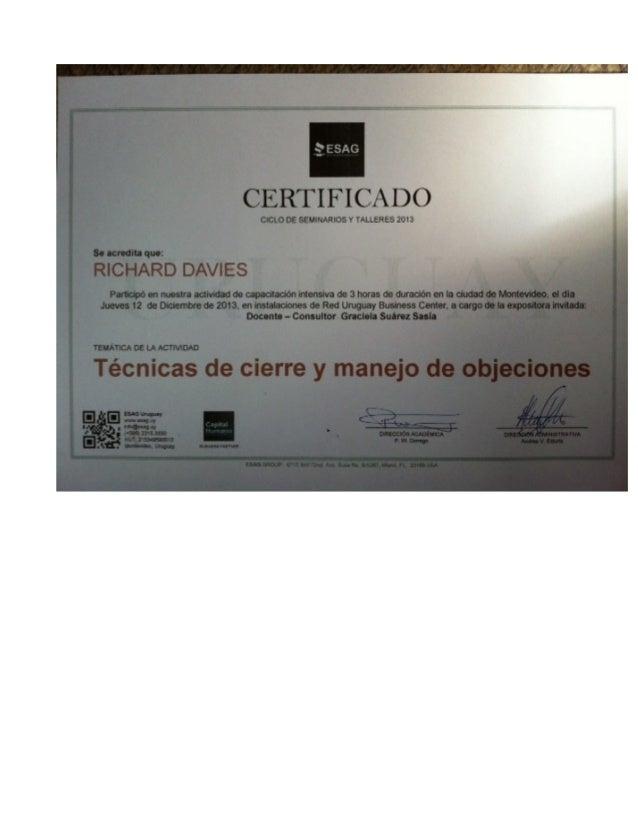 Certificados R Davies 2016